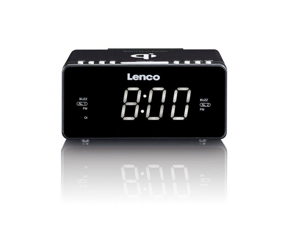 lenco uhrenradio mit qi ladestation usb aux cr 550. Black Bedroom Furniture Sets. Home Design Ideas