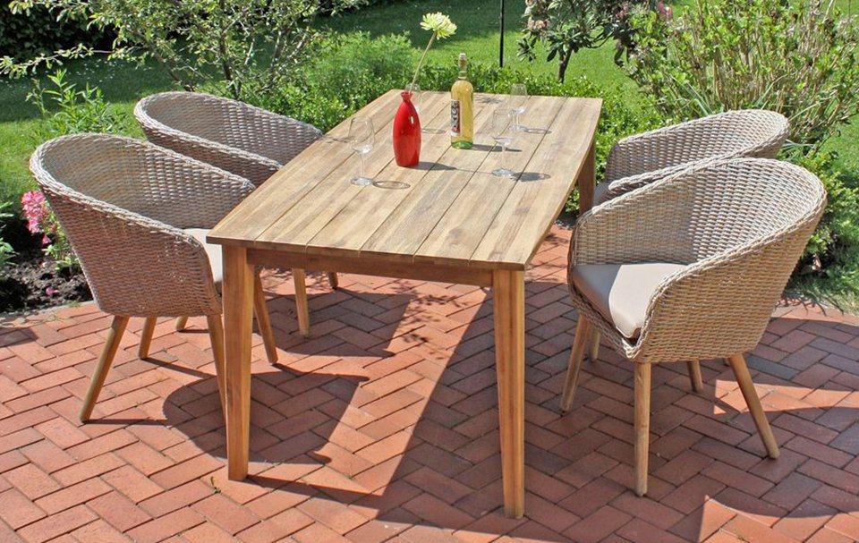 GARDEN PLEASURE Gartenmöbelset »VISALIA«, 9-tlg., 4 Stühle, Tisch ...