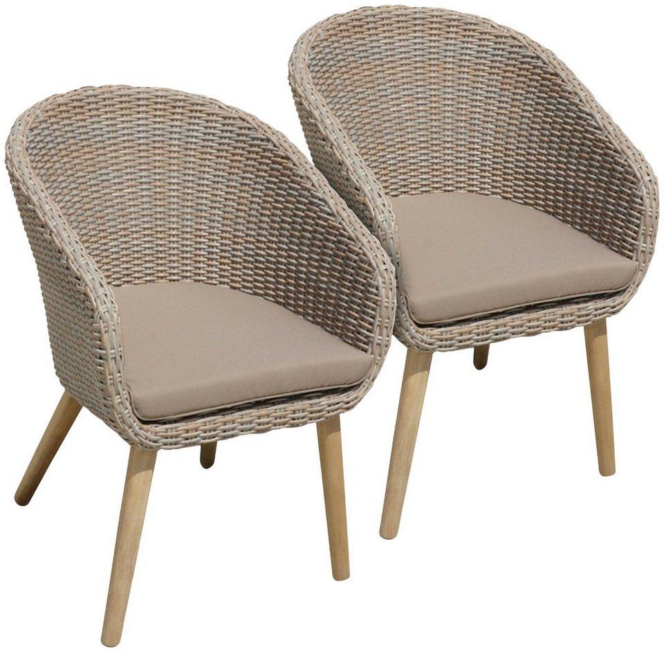 garden pleasure gartenstuhl visalia 2er set akazie polyrattan braun inkl sitzkissen. Black Bedroom Furniture Sets. Home Design Ideas