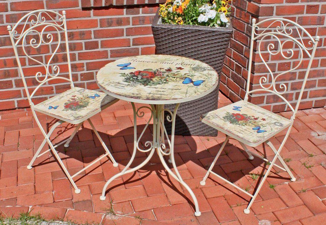 GARDEN PLEASURE Gartenmöbelset »FLORAL«, 3-tlg., 2 Stühle, Tisch Ø 60 cm, Stahl