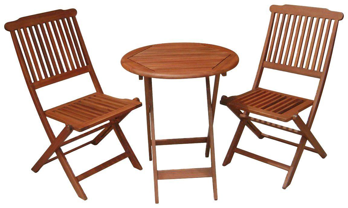 GARDEN PLEASURE Gartenmöbelset »PRAG«, 3-tlg., 2 Stühle, Tisch, klappbar, Eukalyptus