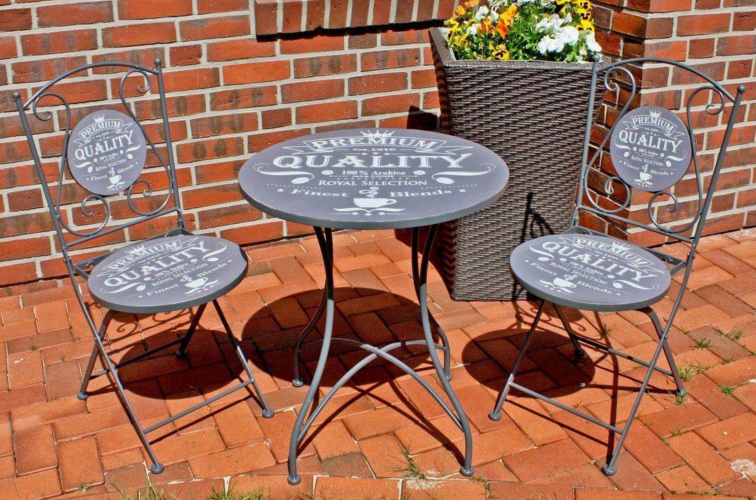 GARDEN PLEASURE Gartenmöbelset »ROYAL«, 3-tlg., 2 Stühle, Tisch Ø 60 cm, Stahl