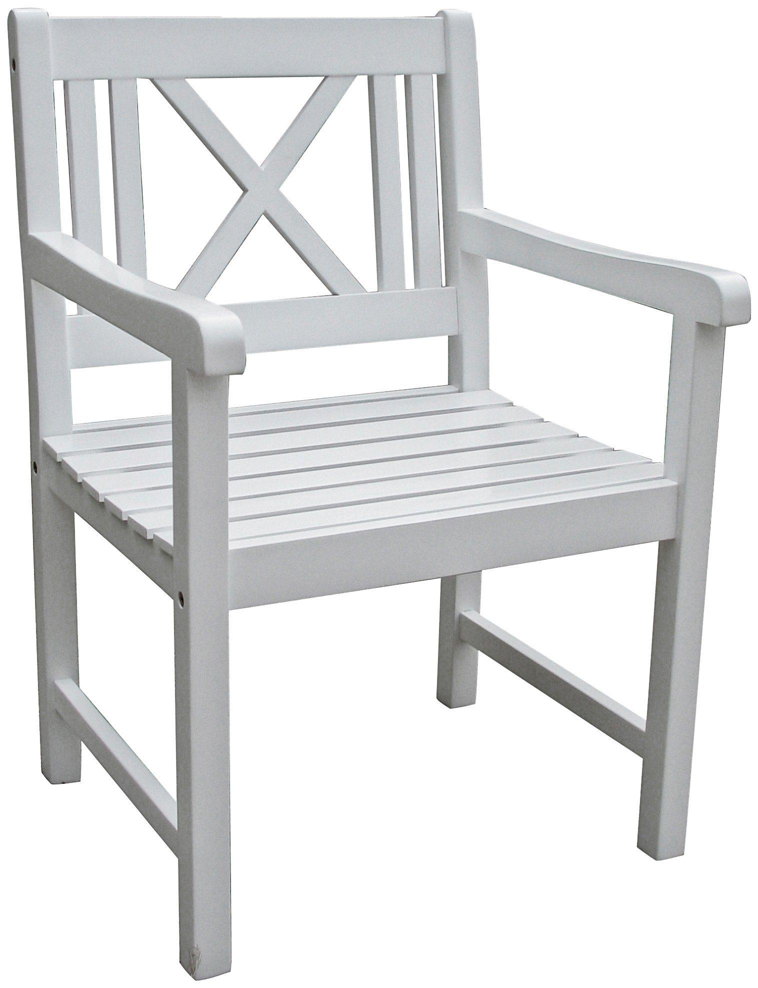 GARDEN PLEASURE Gartenstuhl »MALMÖ«, Eukalyptusholz, weiß