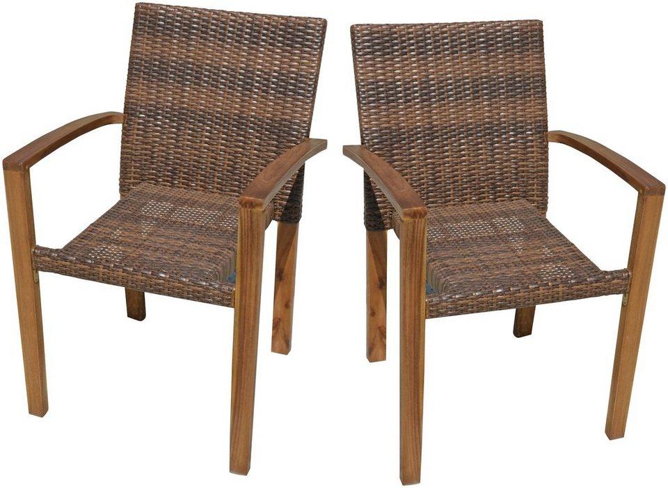 Gartenstühle stapelbar  GARDEN PLEASURE Gartenstuhl »TOPEKA«, (2er Set), Akazie/Polyrattan ...