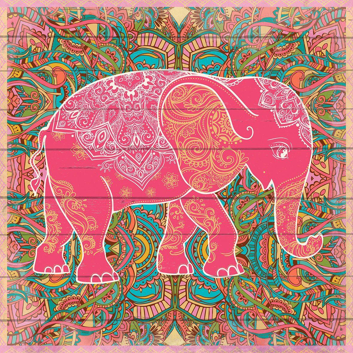 QUEENCE Holzbild »Elefant im Muster«, 40x40 cm Echtholz