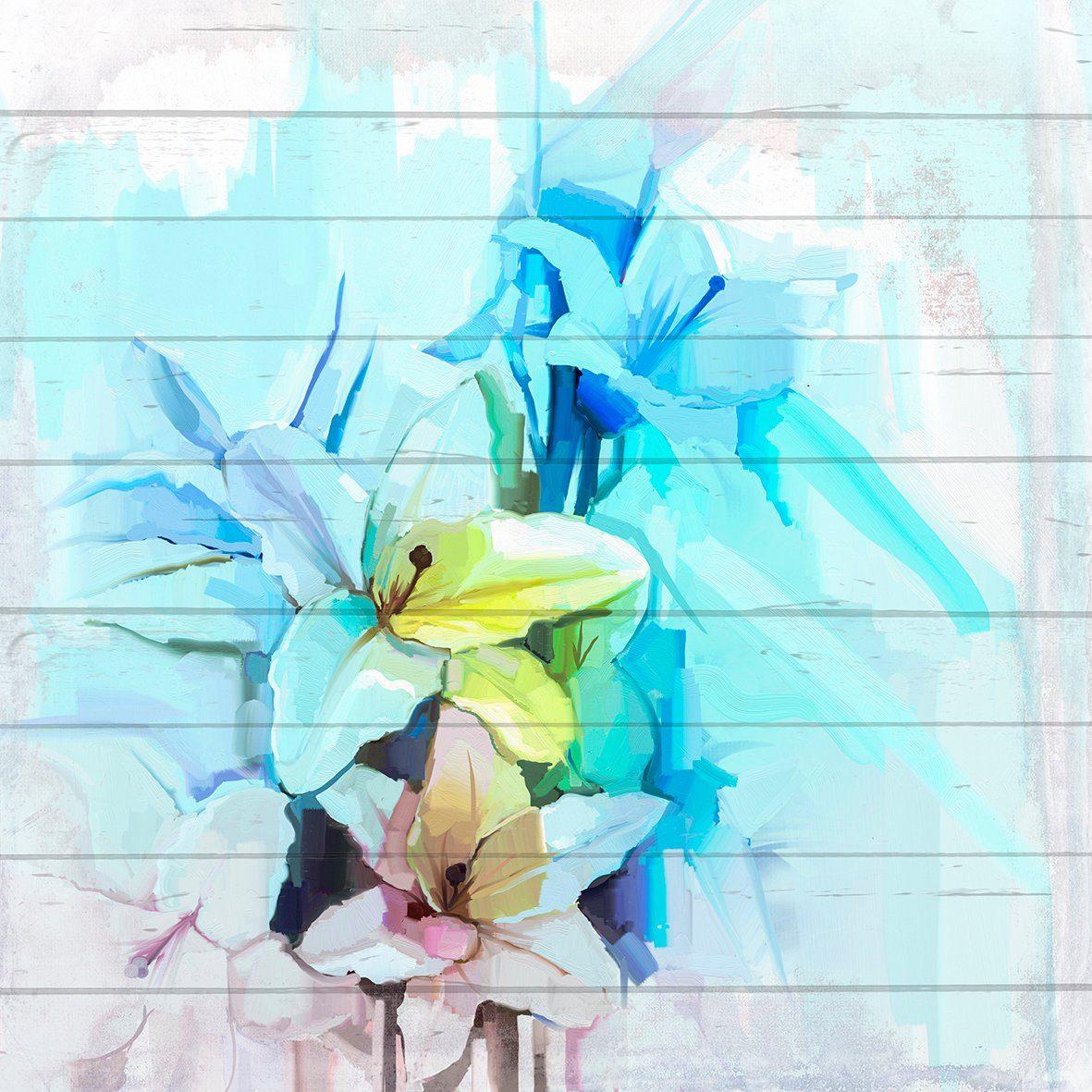 QUEENCE Holzbild »Blau-Weiße Blüten«, 40x40 cm Echtholz