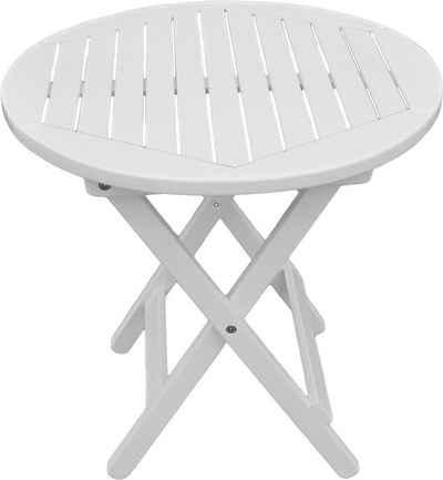 GARDEN PLEASURE Gartentisch »MESA«, Eukalyptusholz, Klappbar, Ø 50 Cm, Weiß