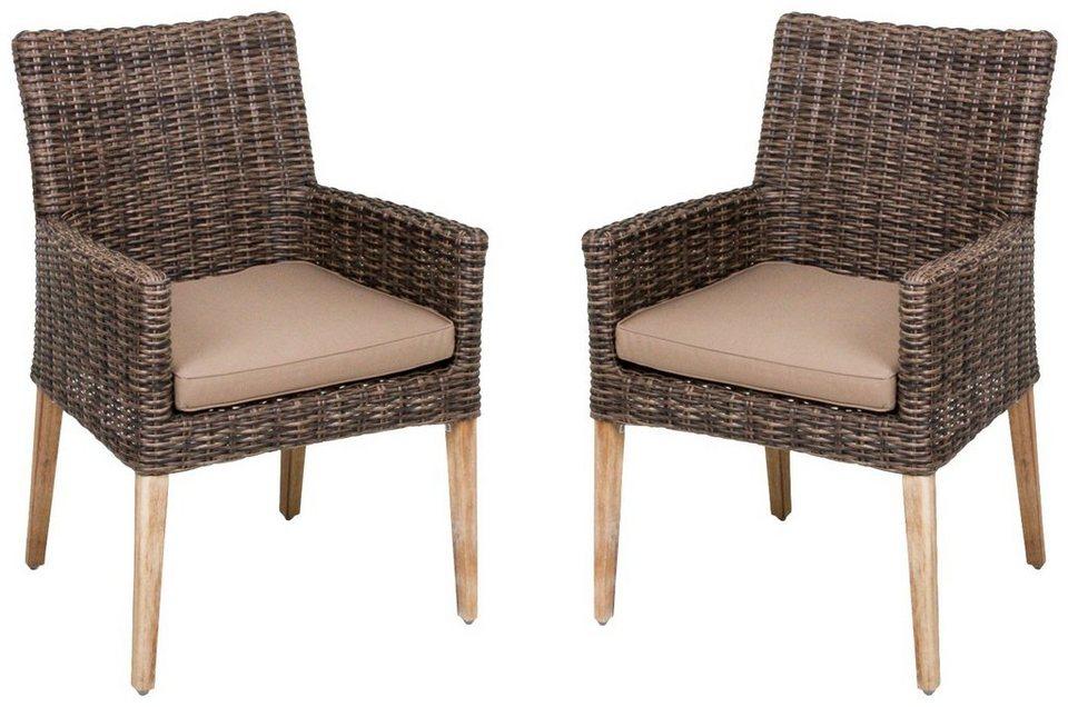 Gartenstühle rattan braun  GARDEN PLEASURE Gartenstuhl »NORVELL«, (2er Set), Akazie/Polyrattan ...