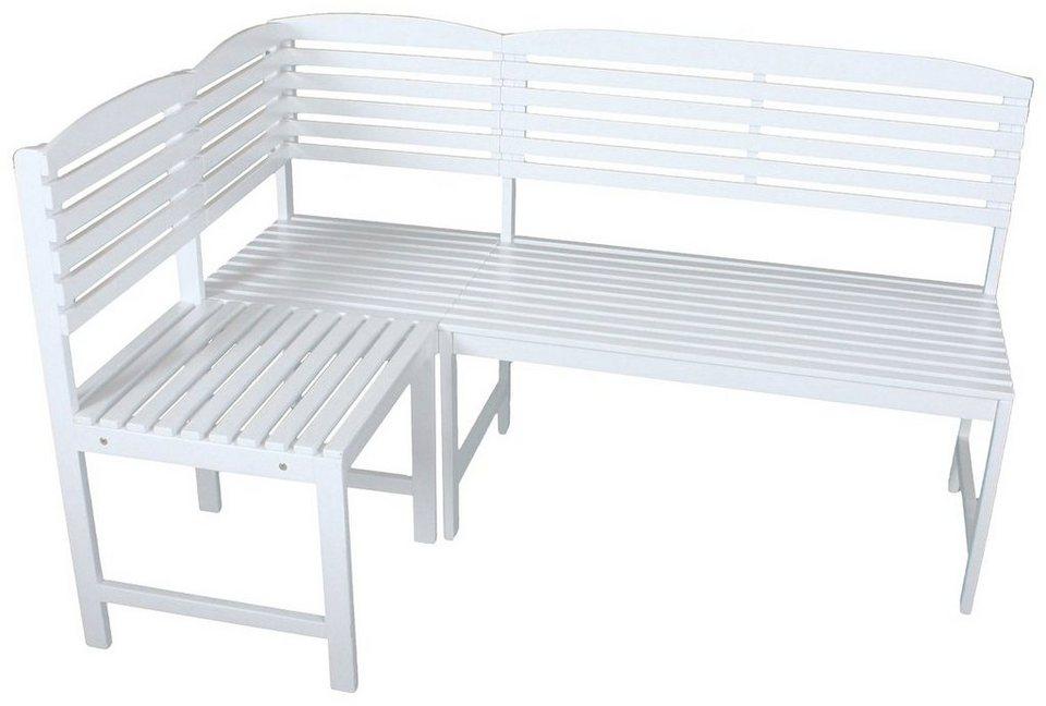 GARDEN PLEASURE Gartenbank »MANILA«, Eukalyptus, 148x90x98 cm, weiß ...