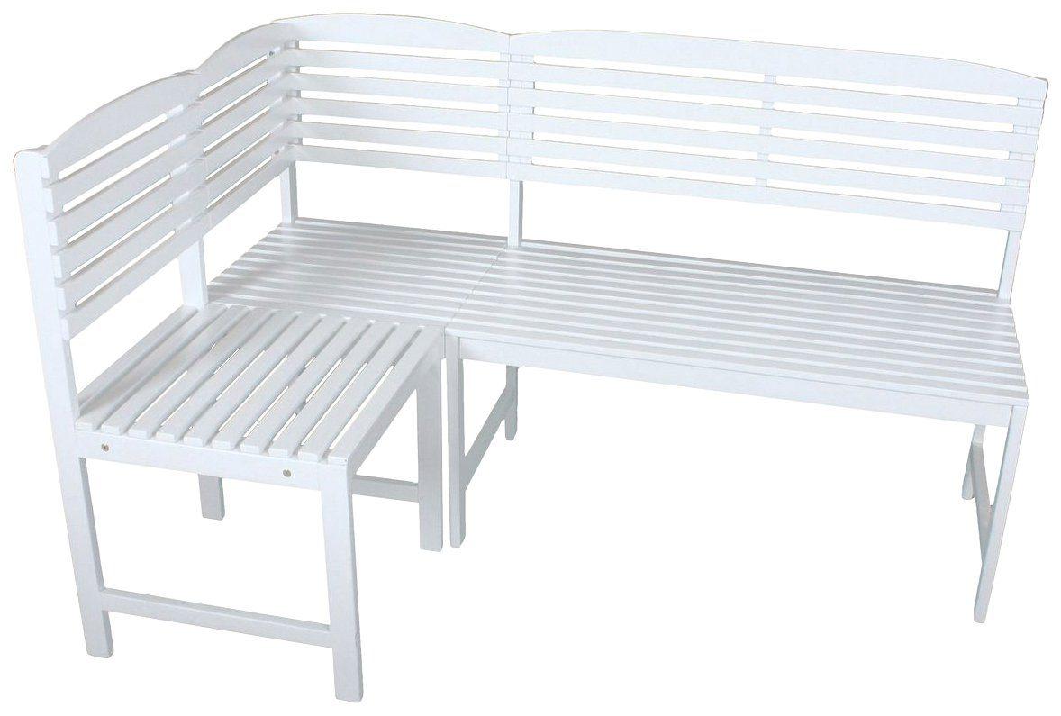 GARDEN PLEASURE Gartenbank »MANILA«, Eukalyptus, 148x90x98 cm, weiß