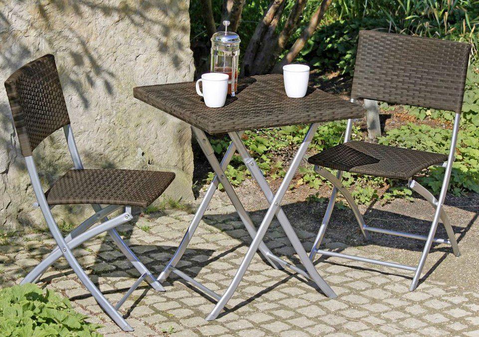 GARDEN PLEASURE Gartenmöbelset »NORFOLK «, 3-tlg., 2 Stühle, Tisch, klappbar, Polyrattan