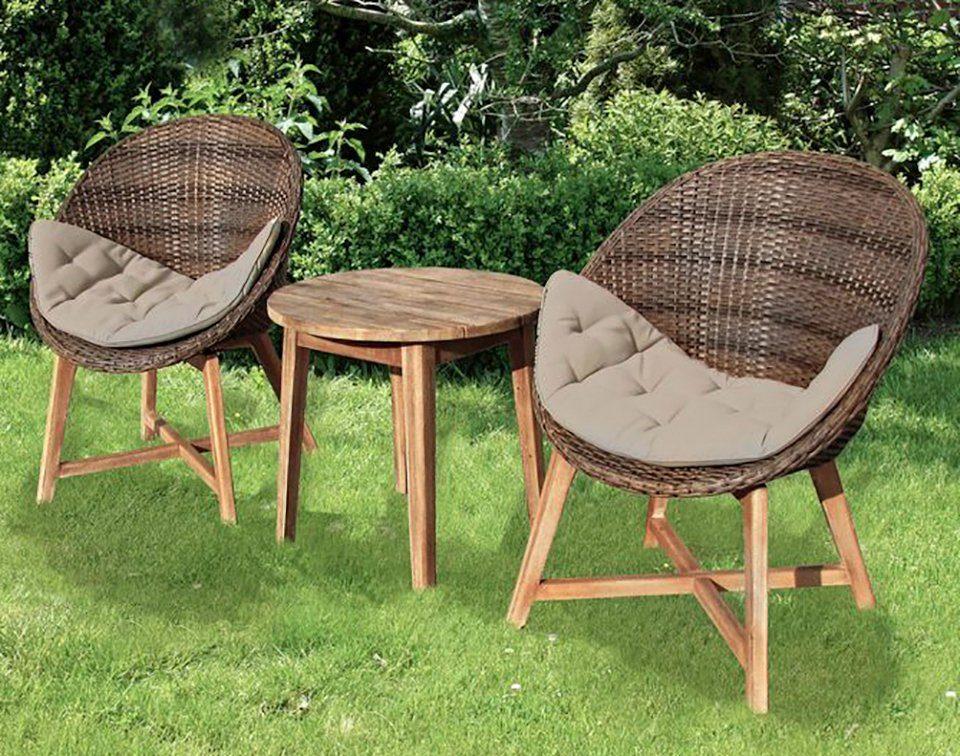 GARDEN PLEASURE Gartenmöbelset »RENO«, 5-tlg., 2 Stühle, Tisch, Akazie/Polyrattan, inkl. Auflagen