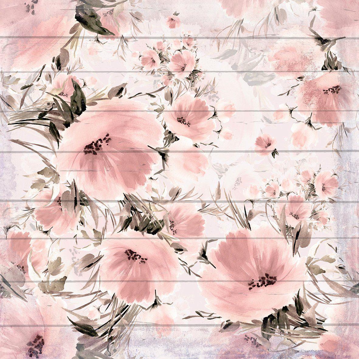 QUEENCE Holzbild »Verwaschene Rosa Blumen«, 40x40 cm Echtholz