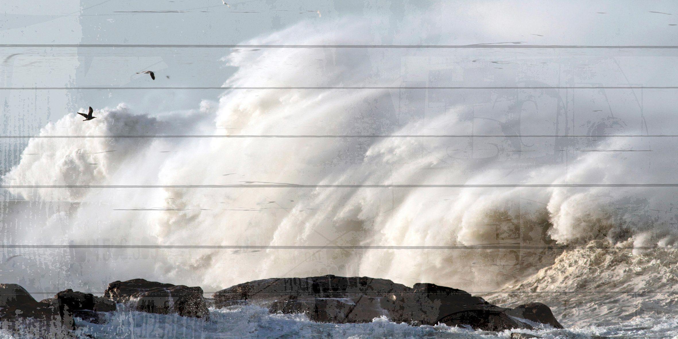 QUEENCE Holzbild »Wellenbrecher Küste«, 40x80 cm Echtholz