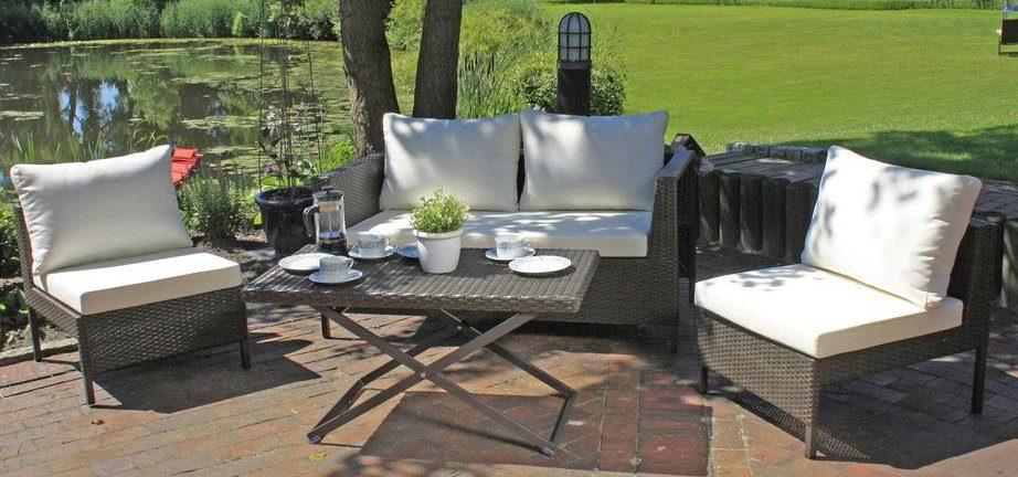 GARDEN PLEASURE Gartenmöbelset »RAVENNA«, 11-tlg., 2er-Sofa, 2 Stühle, Tisch, inkl. Schutzhülle