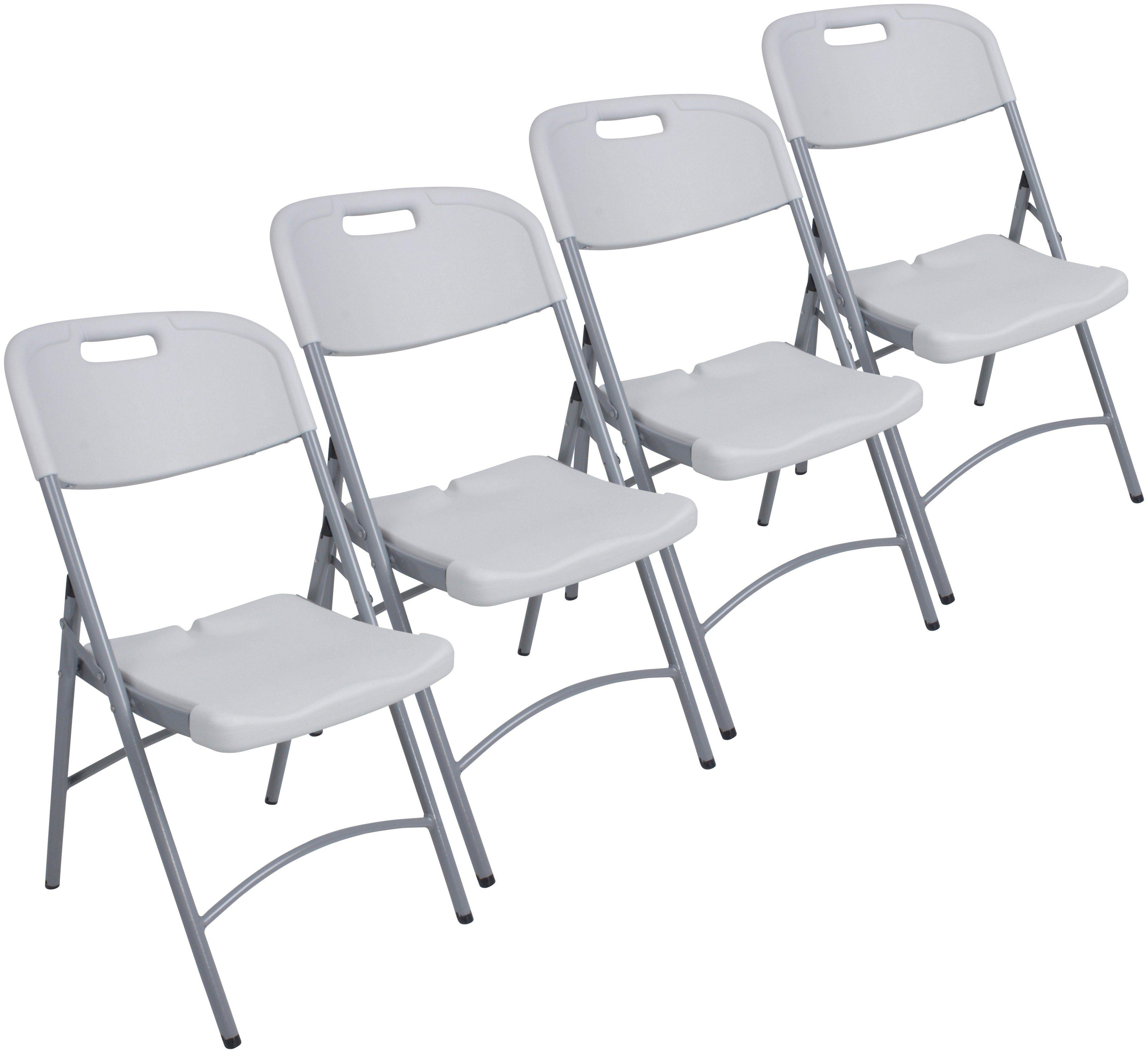 GARDEN PLEASURE Gartenstuhl »MUFARO«, (4er Set), Kunststoff/Stahl, klappbar, weiß
