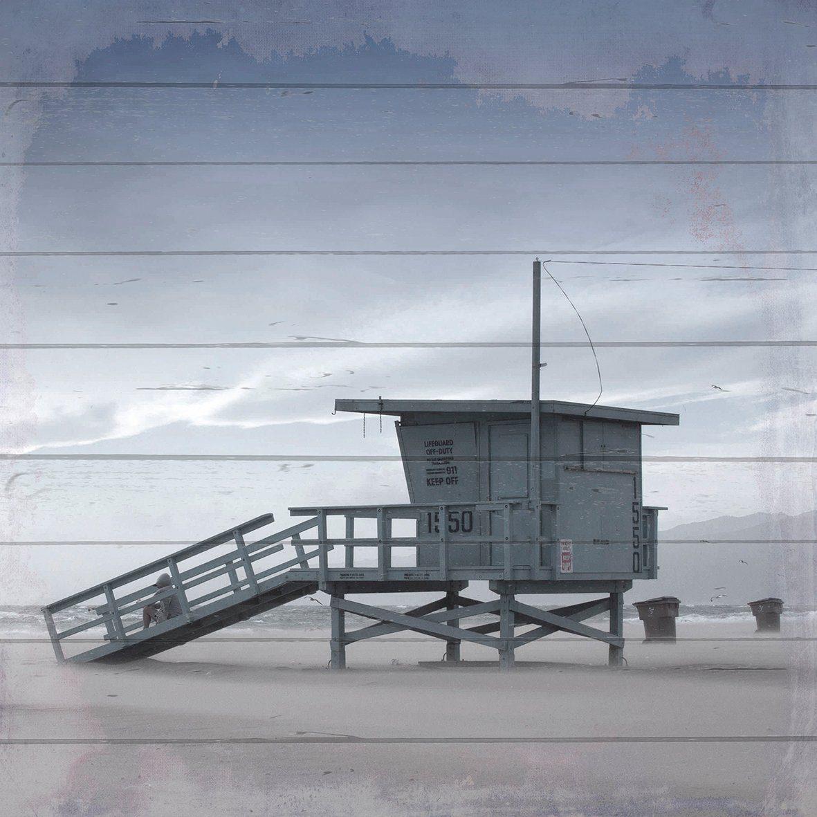 QUEENCE Holzbild »Rettungsschwimmer Hütte«, 40x40 cm Echtholz