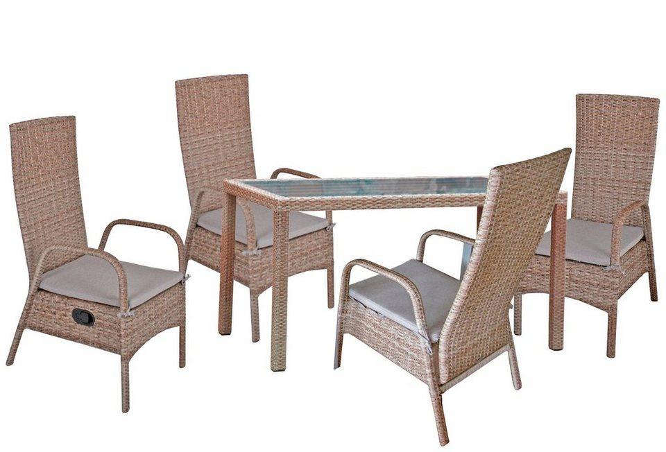 GARDEN PLEASURE Gartenmöbelset »FARO«, 9-tlg., 4 Stühle, Tisch ...