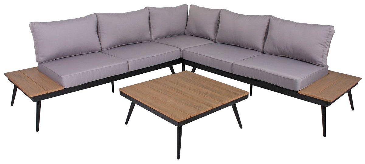 GARDEN PLEASURE Loungeset »RIBA«, 15-tlg., 2 Bänke, Tisch 76x76 cm, Aluminium, grau
