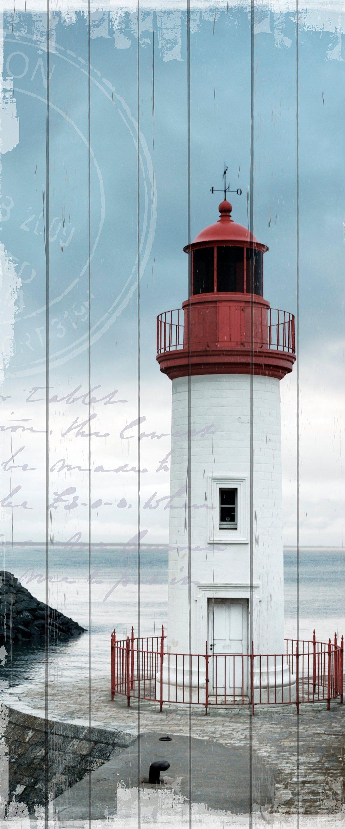QUEENCE Holzbild »Einsamer Leuchtturm«, 80x40 cm Echtholz