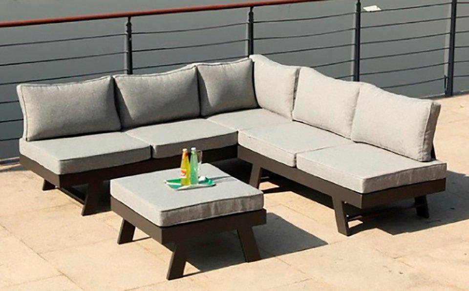 GARDEN PLEASURE Loungeset »DONNA«, 14-tlg., 2 Bänke, Tisch 71x70 cm, Aluminium, grau