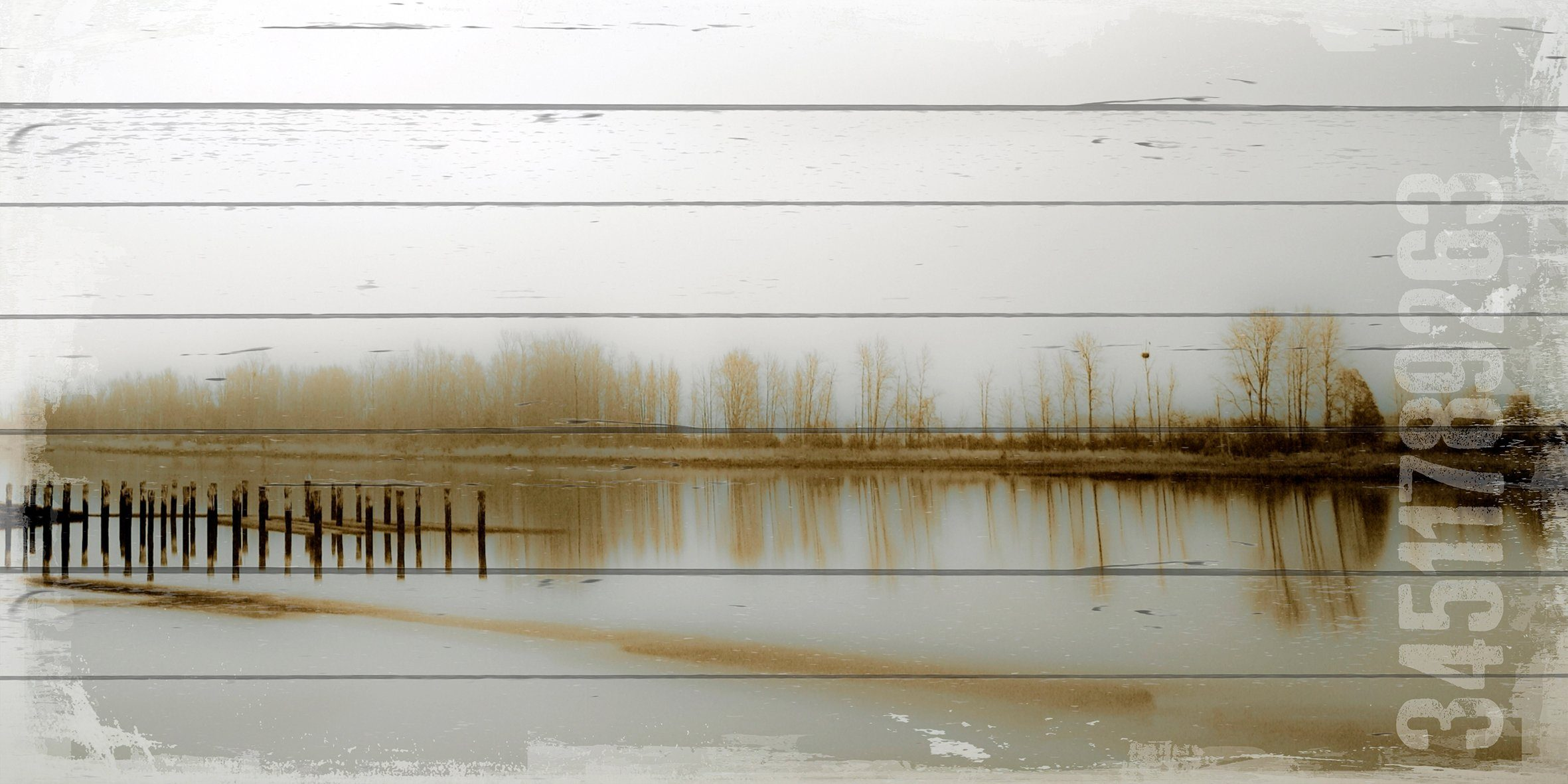 QUEENCE Holzbild »See«, 40x80 cm Echtholz