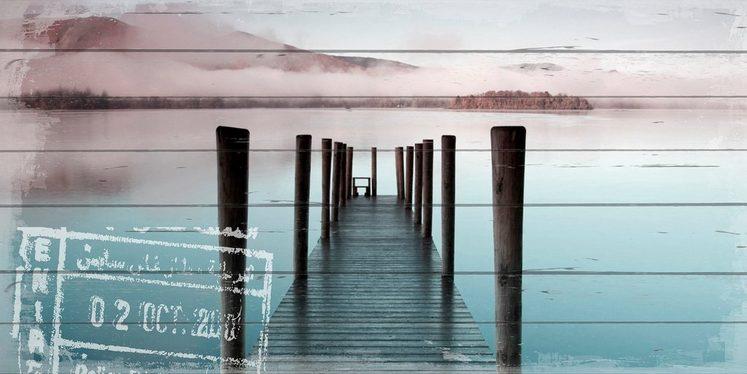 QUEENCE Holzbild »Steg am Wasser«, 40x80 cm Echtholz