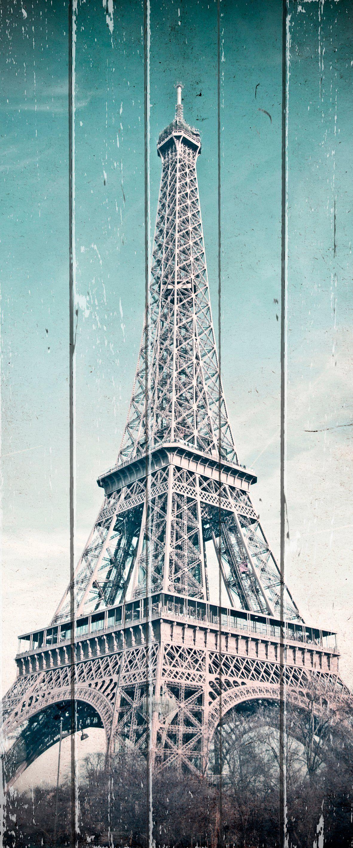 QUEENCE Holzbild »Vintage Eifelturm«, 80x40 cm Echtholz