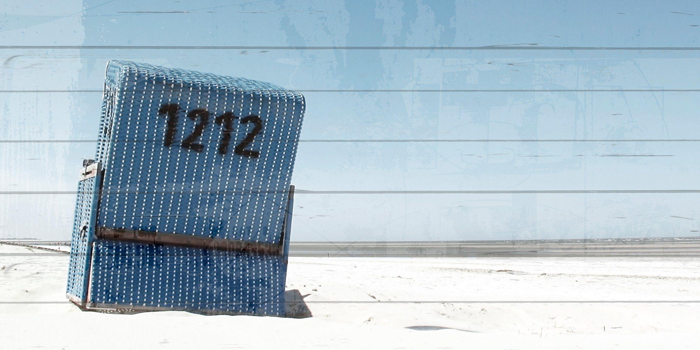 QUEENCE Holzbild »Blauer Strandkorb in Blauem Himmel«, 40x80 cm Echtholz