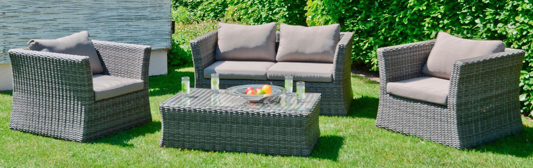 GARDEN PLEASURE Loungeset »AVILA«, 13-tlg., 2er-Sofa, 2 Sessel, Tisch 62x111 cm, Polyrattan