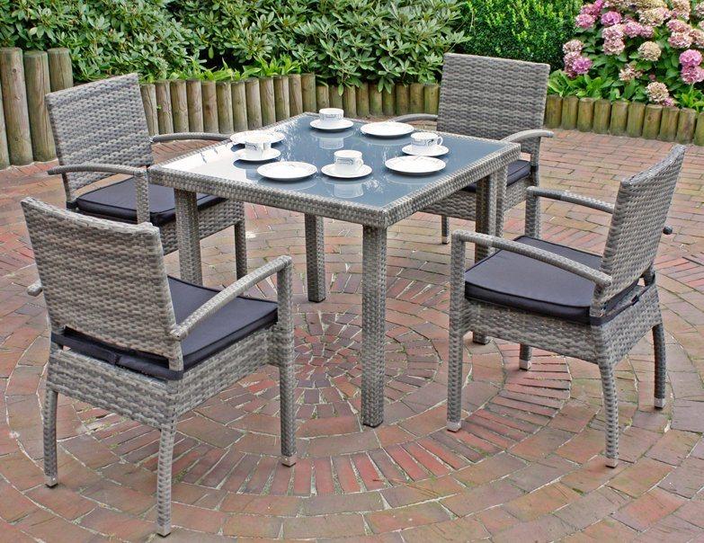 Garden Pleasure Gartenmöbelset Minsk 5 Tlg 4 Stühle Tisch Alu Polyrattan Inkl Sitzkissen Online Kaufen Otto