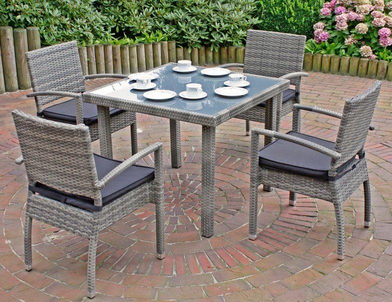 GARDEN PLEASURE Gartenmöbelset »MINSK«, 5-tlg., 4 Stühle, Tisch, Alu/Polyrattan, inkl. Sitzkissen