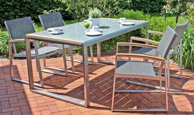 GARDEN PLEASURE Gartenmöbelset »AVA«, 5-tlg. 4 Stühle, Tisch, Alu ...