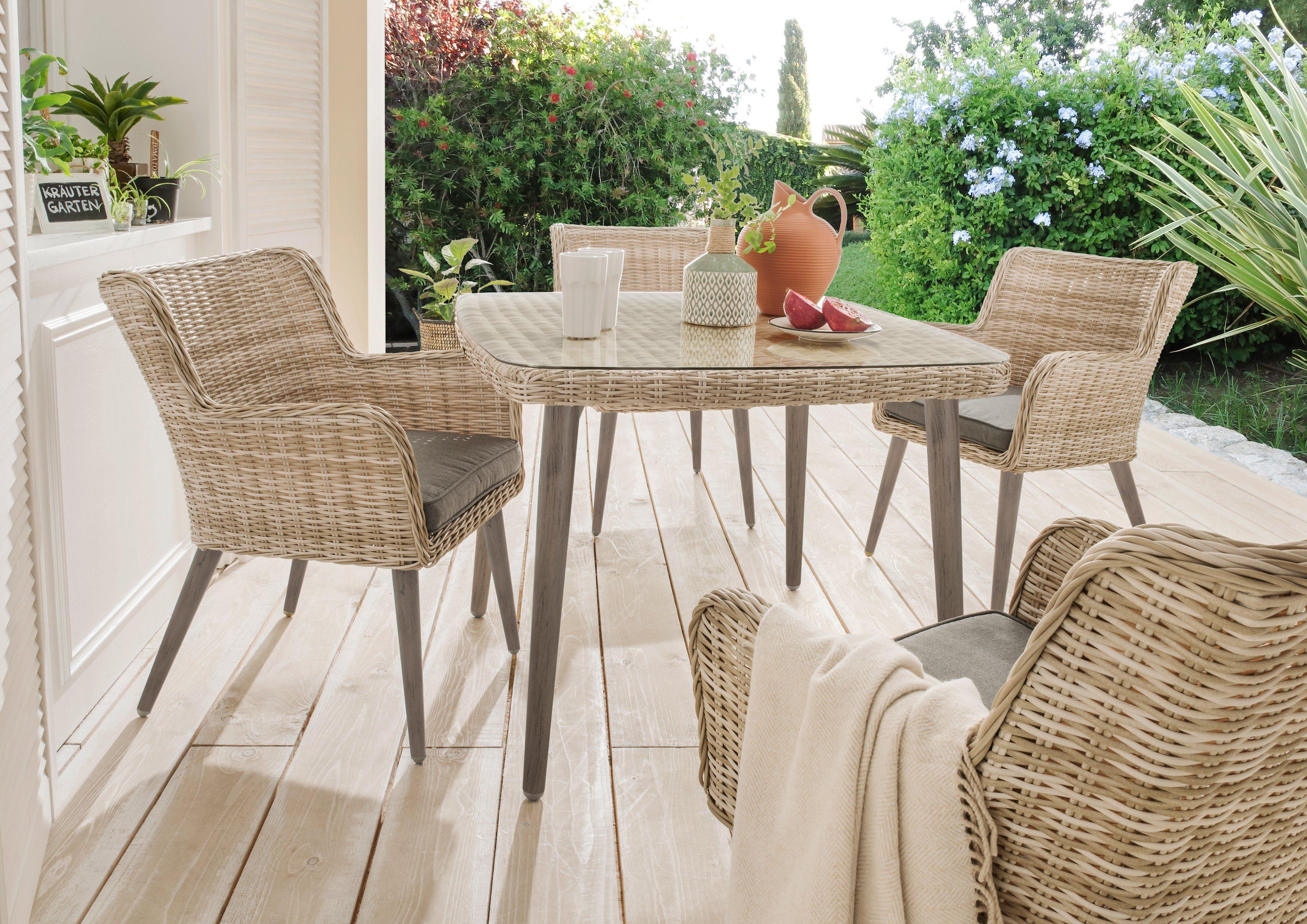 DESTINY Gartenmöbelset »Correda«, 9-tlg., 4 Sessel, Tisch 100x100 cm, Alu/Polyrattan, beige