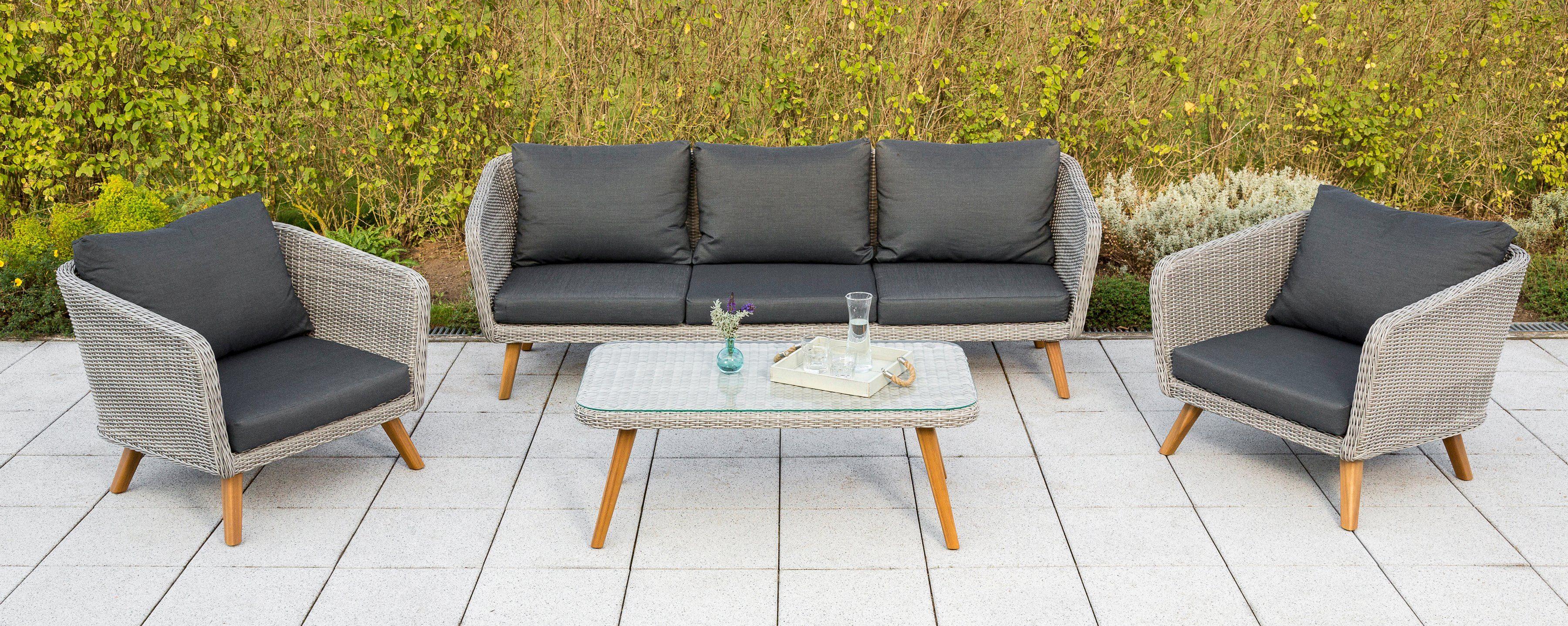 MERXX Loungeset »Toscanella«, 14-tlg., 2 Sessel, 3er-Bank, Tisch 110x60 cm, Polyrattan