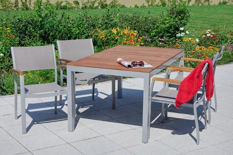 MERXX Gartenmöbelset »Naxos«, 7-tlg., 6 Sessel, Tisch 90x150 cm, stapelbar, Akazie/Textil