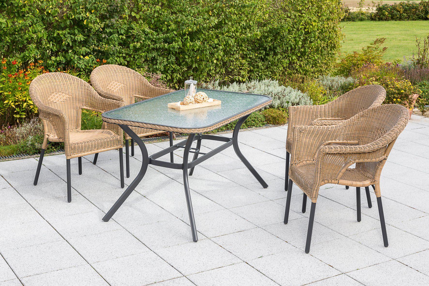MERXX Gartenmöbelset »Ravenna«, 5tlg., 4 Sessel, Tisch, stapelbar, Polyrattan