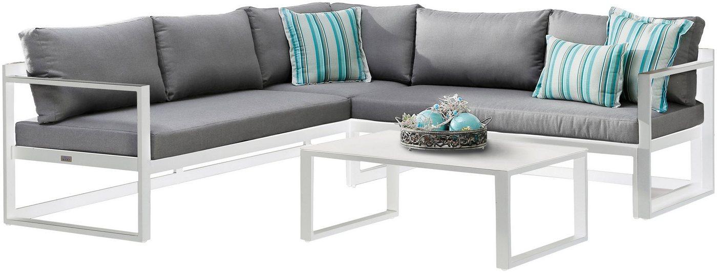 BEST Loungeset »Rhodos«, 11-tlg., Ecklounge, Tisch 88x60 cm, Aluminium   Garten > Gartenmöbel > Loungemöbel-Garten   Weiß   Best