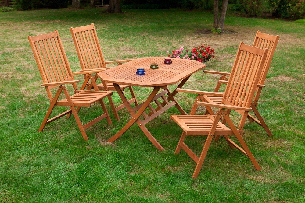 MERXX Gartenmöbelset »Vitoria«, 5tlg., 4 Sessel, Tisch, klappbar, Eukalyptusholz