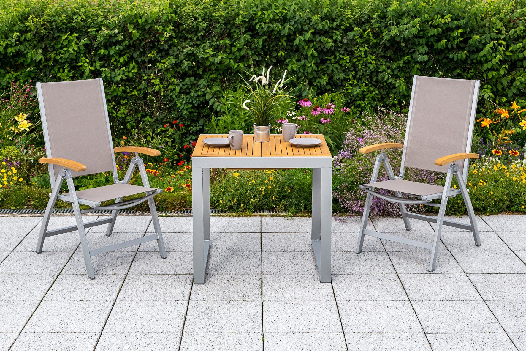 MERXX Gartenmöbelset »Naxos«, 3tlg., 2 Sessel, Tisch, klappbar, ausziehbar, Akazien