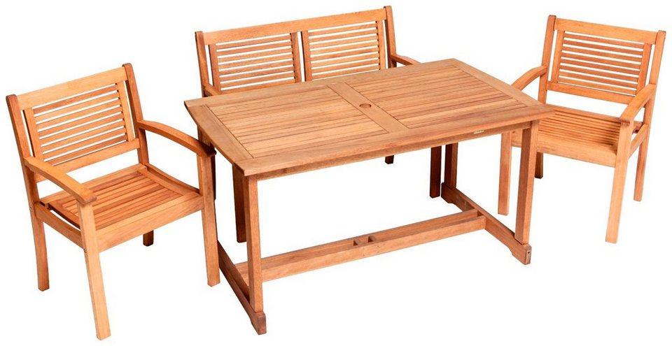 MERXX Gartenmöbelset »Cordoba«, 4tlg., 2 Sessel, Bank, Tisch ...