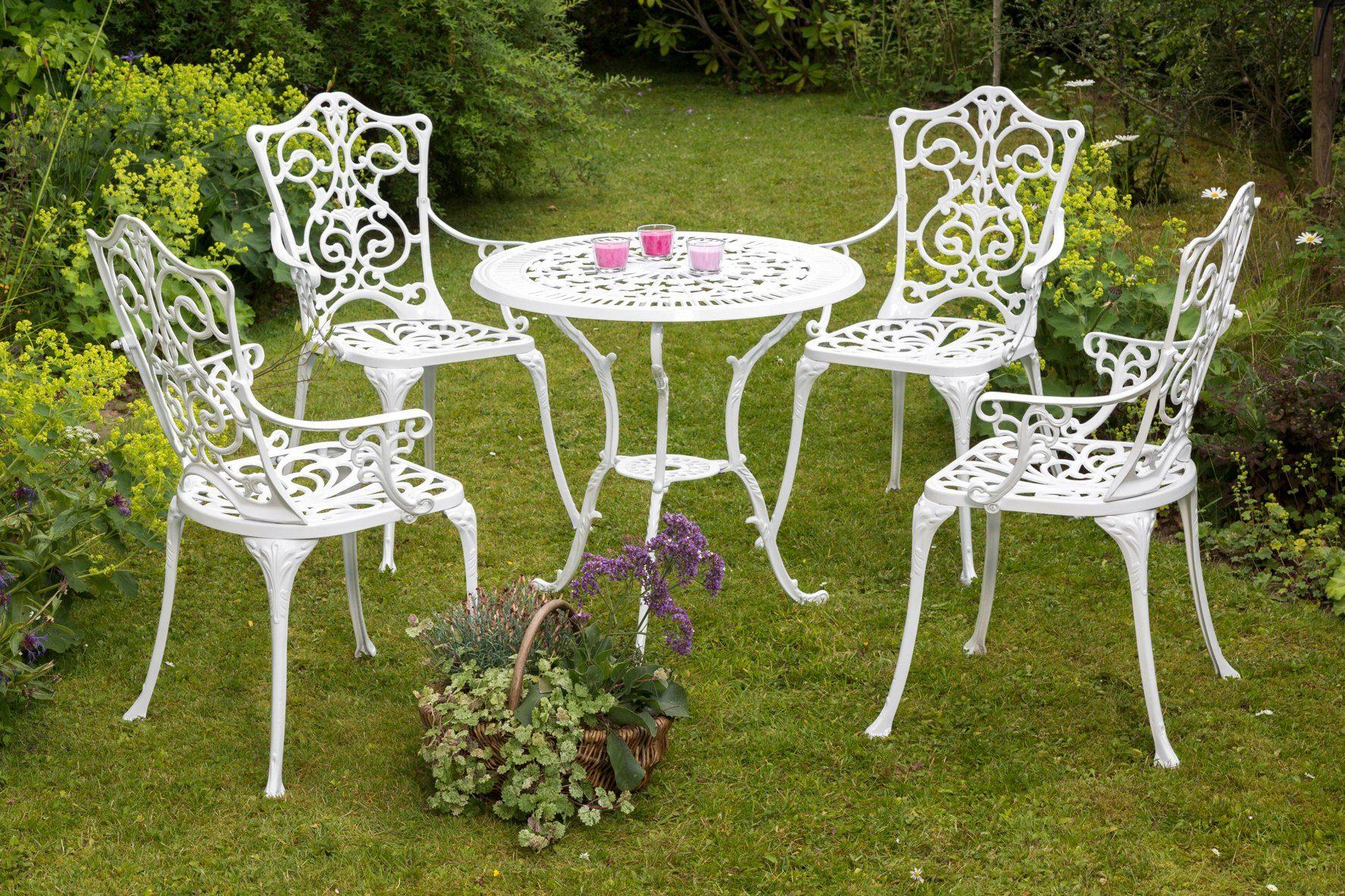 MERXX Gartenmöbelset »Lugano«, 5tlg., 4 Sessel, Tisch Ø 70 cm, Aluminium