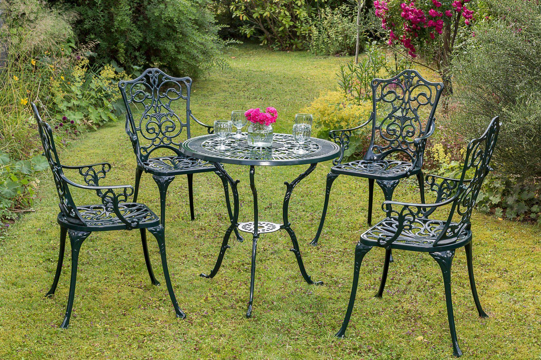 MERXX Gartenmöbelset »Lugano«, 5tlg., 4 Sessel, Tisch, Aluminium