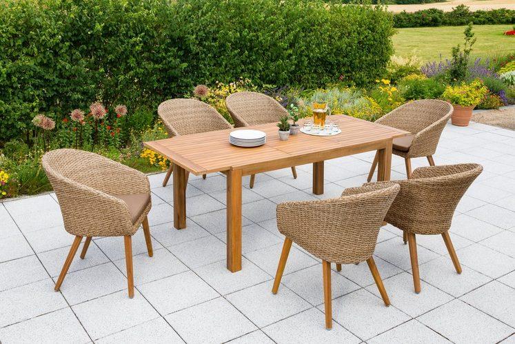 MERXX Gartenmöbelset »Arrone«, 13-tlg., 6 Sessel, Tisch ausziehbar, Polyrattan/Akazie