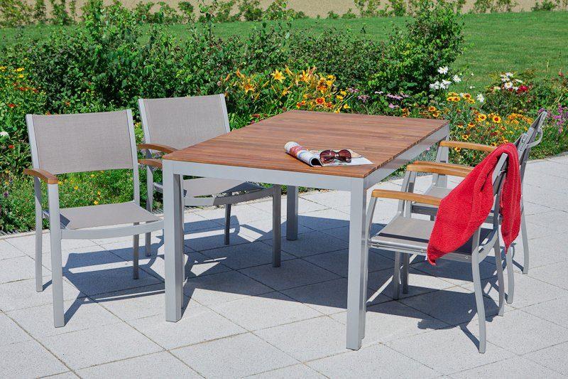 MERXX Gartenmöbelset »Naxos«, 5tlg., 4 Sessel, Tisch, stapelbar, Akazienholz/Textil