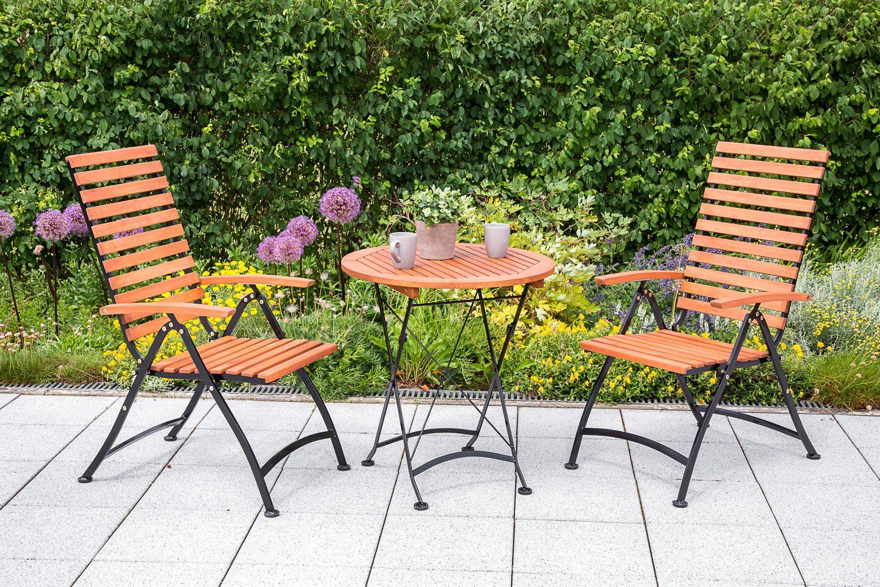 MERXX Gartenmöbelset , 3tlg., 2 Sessel, Tisch, klappbar, Eukalyptusholz