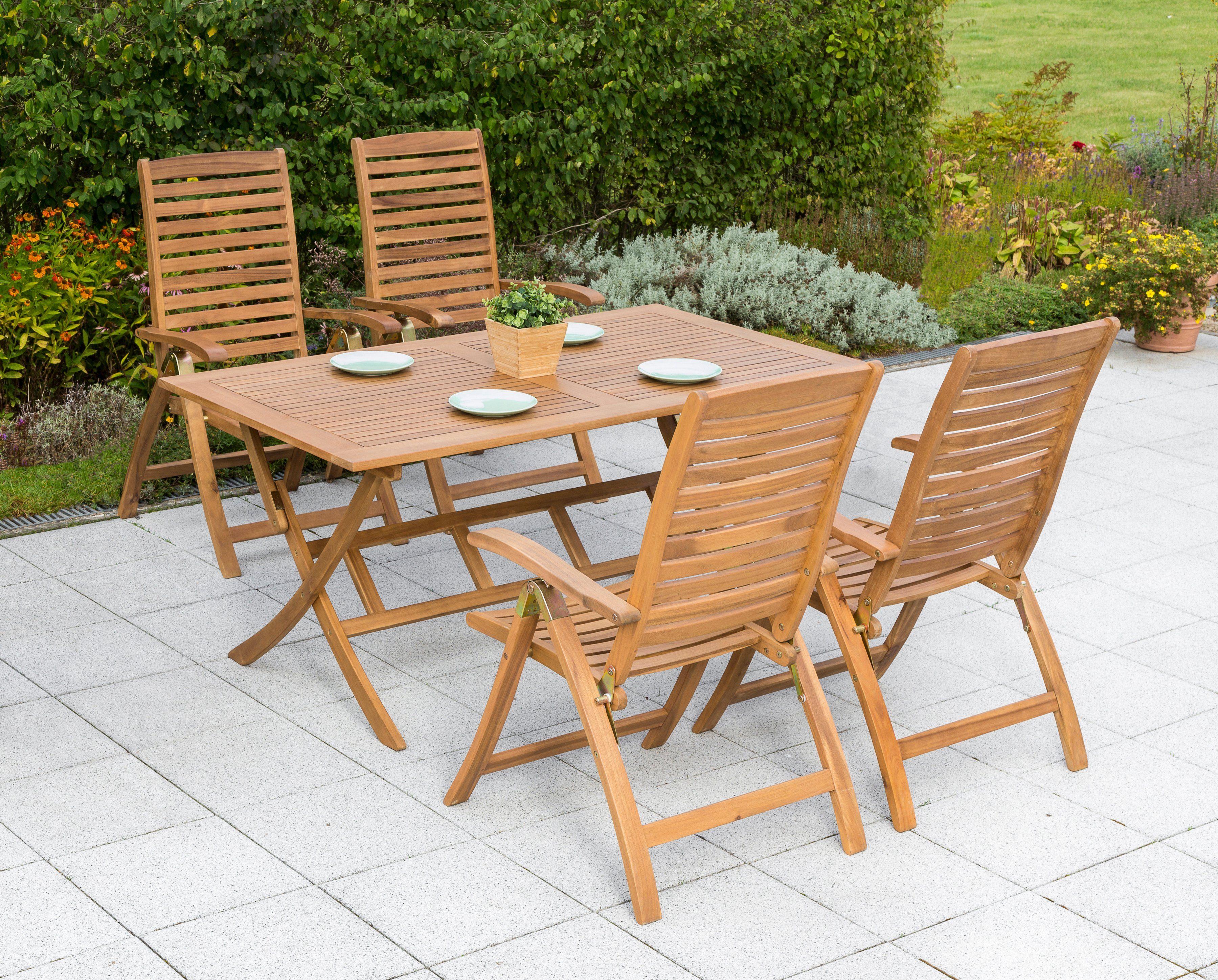 MERXX Gartenmöbelset »Paraiba«, 5-tlg., 4 Klappsessel, Tisch 160x90 cm, Akazie, klappbar