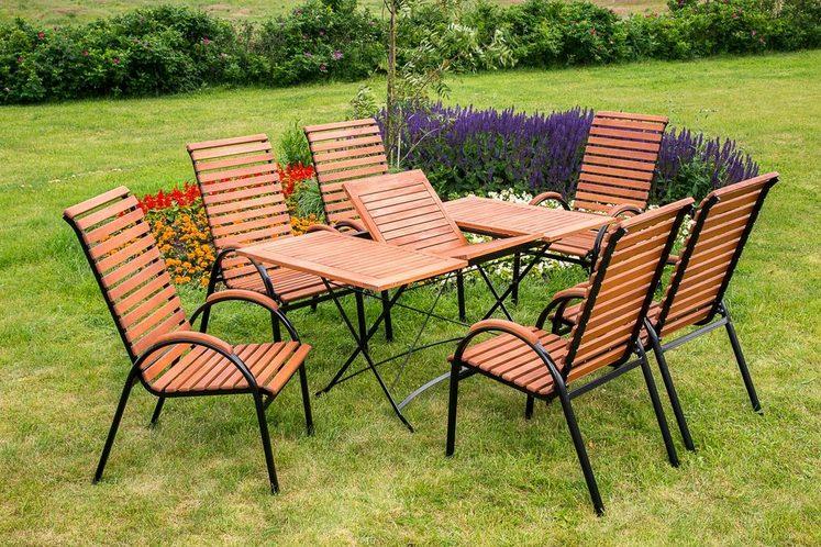 MERXX Gartenmöbelset »Schloßgarten«, 7tlg., 6 Sessel, Tisch, stapelbar, klappbar, ausziehbar