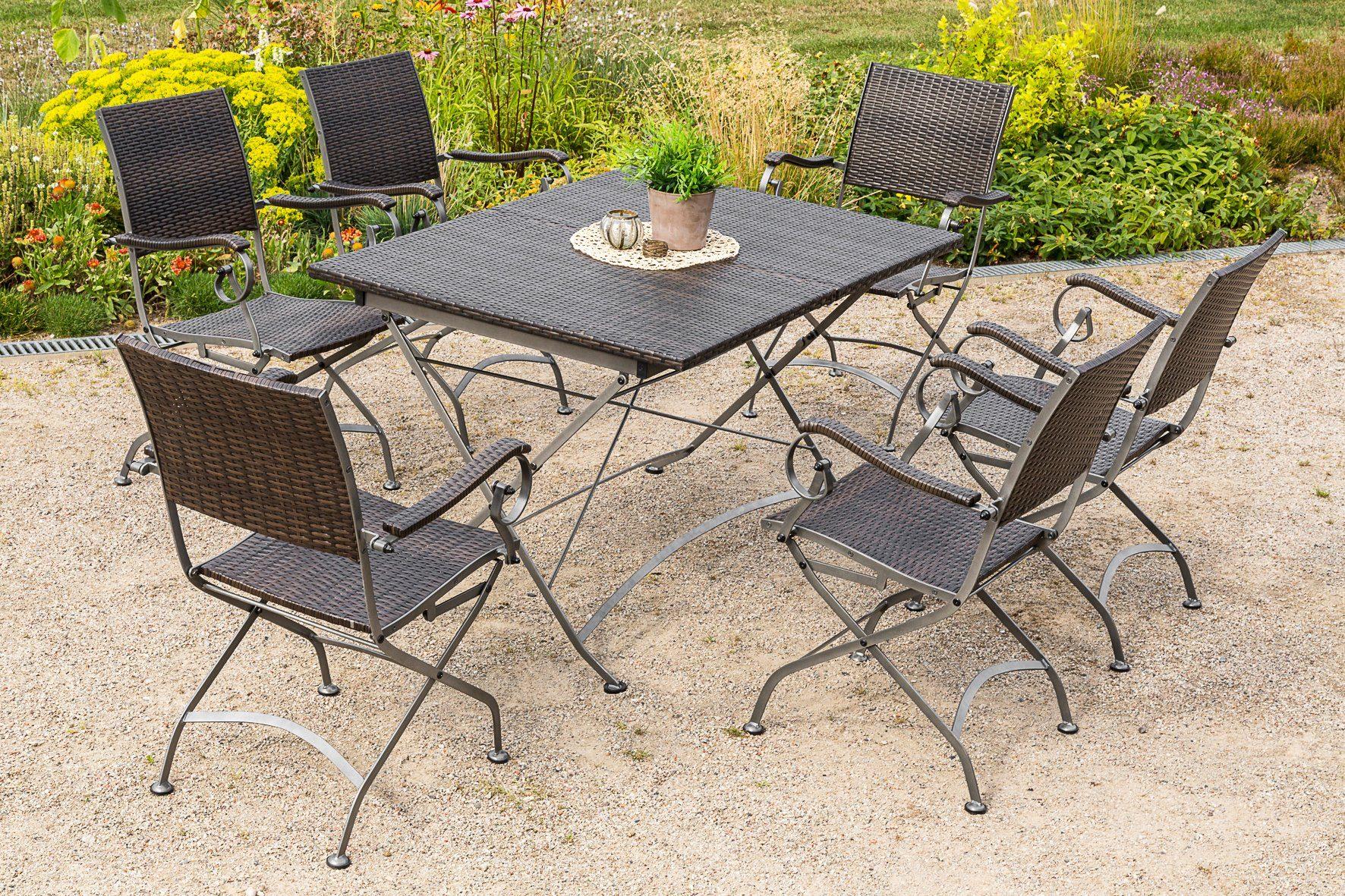 MERXX Gartenmöbelset »Sanssouci«, 7tlg., 6 Sessel, Tisch, klappbar, ausziehbar, Polyrattan