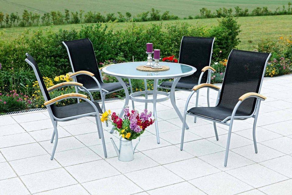 Siena Gartenmobel Set Pic | Merxx Gartenmobelset Siena 5tlg 4 Sessel Tisch Stapelbar